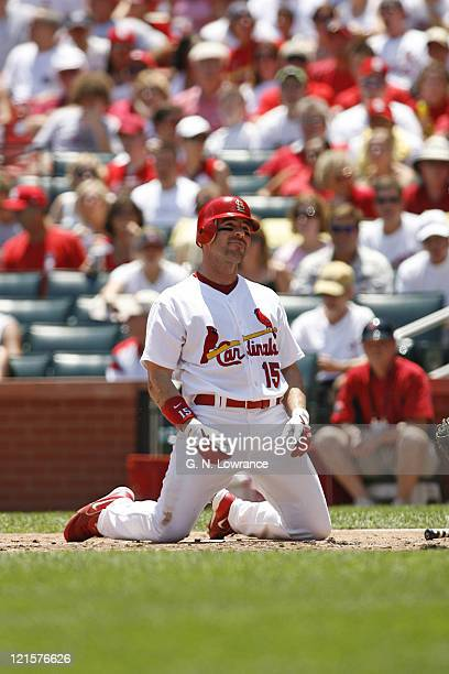 Jim Edmonds sits at home plate after being brushed back by a pitch during action between the Los Angeles Dodgers and St Louis Cardinals at Busch...