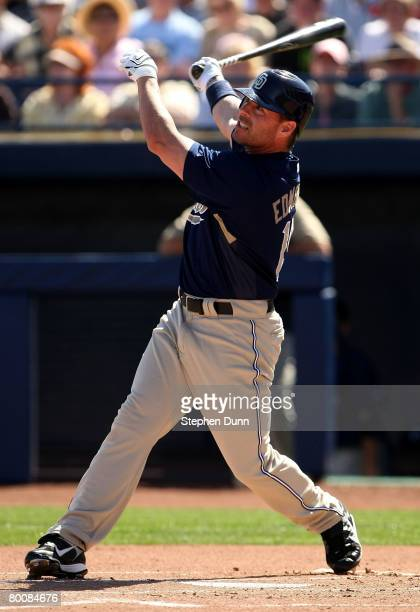 Jim Edmonds w#15 of the San Diego Padres bats against the Seattle Mariners on March 2 2008 at Peoria Sports Complex in Peoria Arizona The Mariners...