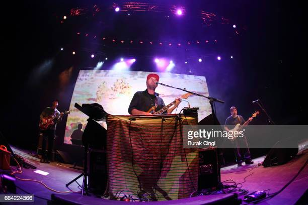 Jim Fairchild Jason Lytle and Kevin Garcia of Grandaddy perform at the Roundhouse on April 3 2017 in London United Kingdom
