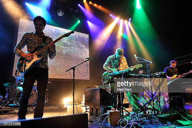 Jim Fairchild Jason Lytle and Kevin Garcia of Grandaddy perform on stage at Shepherds Bush Empire on September 4 2012 in London United Kingdom