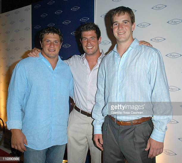 Jim Finn Jesse Palmer and Eli Manning during Opening of Marc Packer's Bolzano's at Bolzano's in New York City New York United States