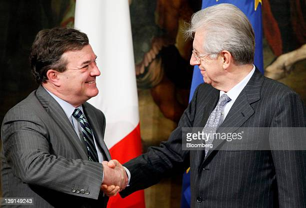 Jim Flaherty Canada's finance minister left shakes hands with Mario Monti Italy's prime minister following their meeting at the Chigi palace in Rome...