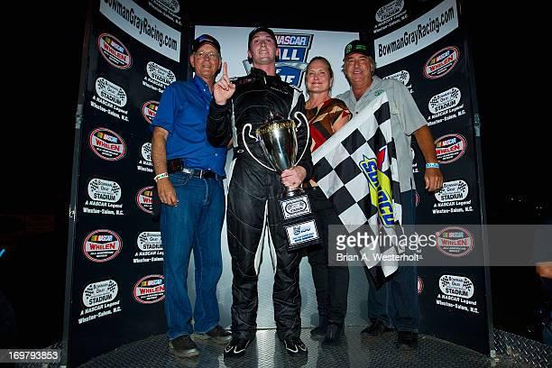 Jim France Ben Kennedy Lisa FranceKenedy and Jeffrey Loch of GOil celebrate after Kennedy won the NASCAR KN Pro Series East NASCAR Hall of Fame 150...