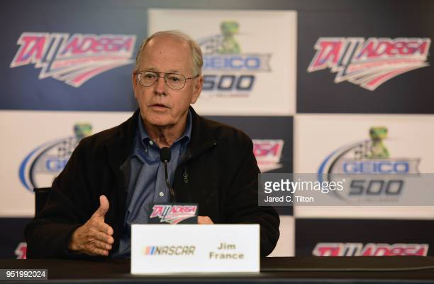 Jim France NASCAR vice chairman speaks to the media during a press conference announcing NASCAR's acquision of ARCA prior to practice for the NASCAR...