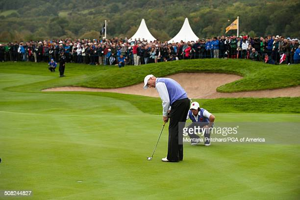 Jim Furyk and Rickie Fowler during the foursome matches in session two at the 38th Ryder Cup at the Twenty Ten Course at Celtic Manor in Newport...