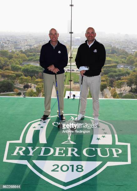 Jim Furyk Captain of The United States and Thomas Bjorn Captain of Europe pose on a platform on the Eiffel Tower during the Ryder Cup 2018 Eiffel...