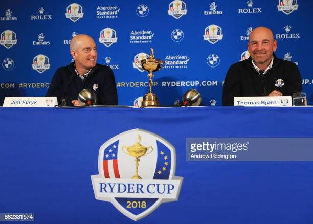 Jim Furyk Captain of The United States and Thomas Bjorn Captain of Europe look on during a Ryder Cup 2018 Year to Go Captains Press Conference at the...