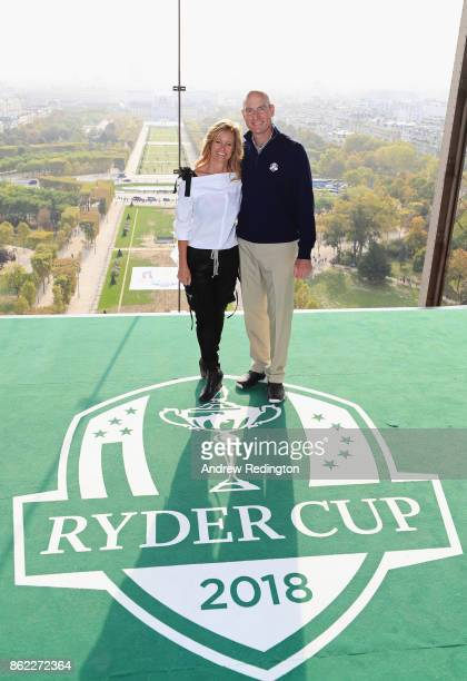 Jim Furyk Captain of The United States and wife Tabitha pose on a platform on the Eiffel Tower during the Ryder Cup 2018 Eiffel Tower Stunt on...