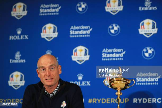 Jim Furyk Captain of The United States speaks during a Ryder Cup 2018 Year to Go Captains Press Conference at the Pullman Paris Tour Eiffel Hotel on...