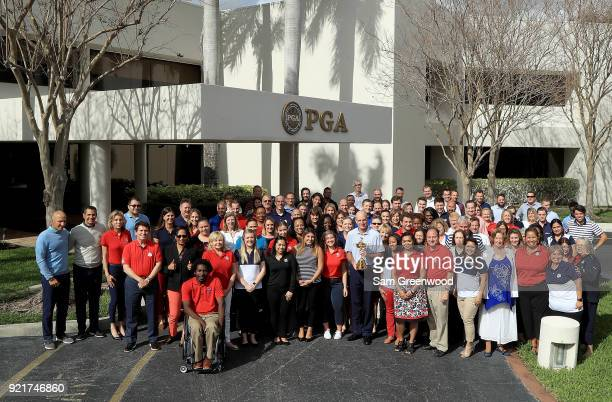 Jim Furyk Captain of the United States Team poses with the PGA Staff prior to The Honda Classic at PGA Headquarters on February 20 2018 in Palm Beach...