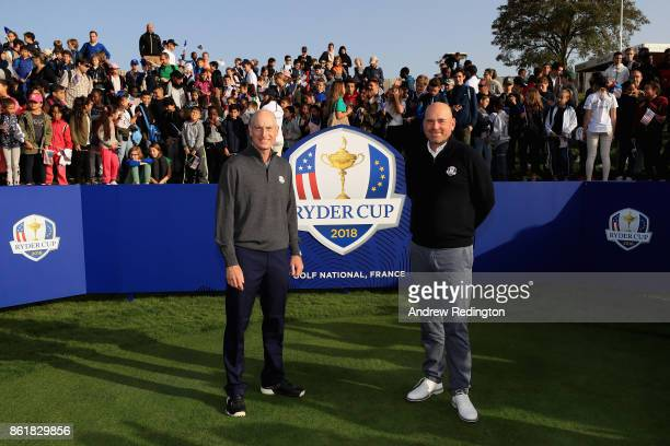 Jim Furyk Captin of The United States and Thomas Bjorn Captain of Europe pose for photos at an Education Programme Visit during the Ryder Cup 2018...