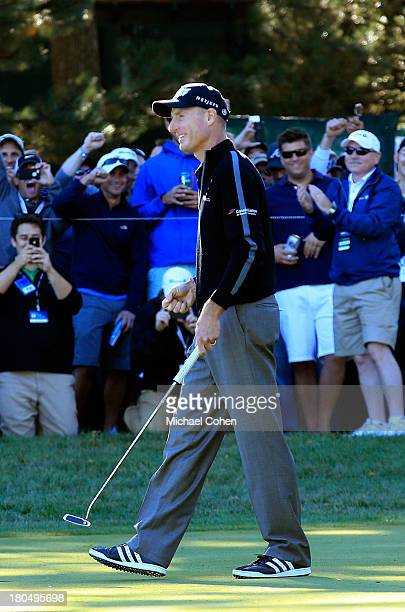 Jim Furyk celebrates after shooting a 59 during the Second Round of the BMW Championship at Conway Farms Golf Club on September 13 2013 in Lake...