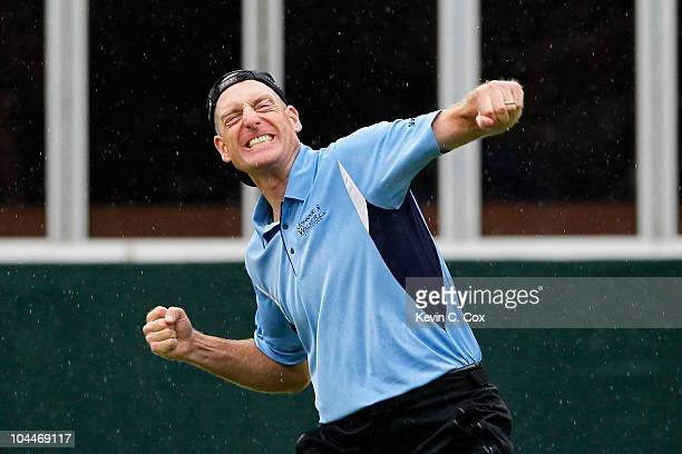 Jim Furyk celebrates winning the FedExCup and THE TOUR Championship presented by CocaCola the final event of the PGA TOUR Playoffs for the FedExCup...