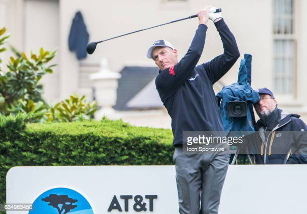 Jim Furyk follows through his first hit during the second round of the ATT Pebble Beach ProAm in Pebble Beach CA on Friday February 10 2017