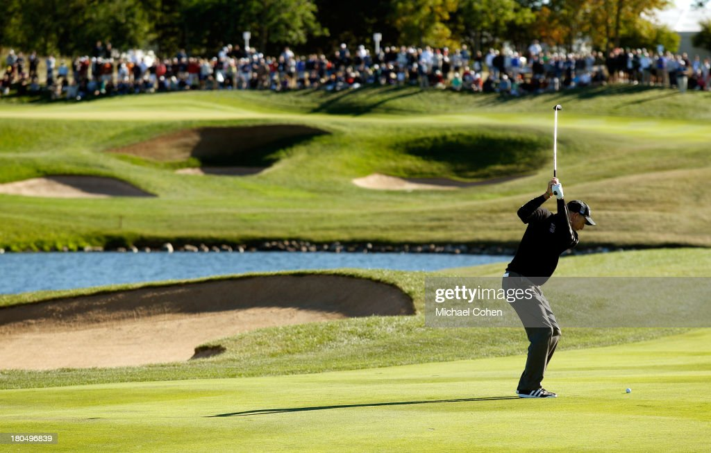 Jim Furyk hits from the eighth fairway during the Second Round of the BMW Championship at Conway Farms Golf Club on September 13, 2013 in Lake Forest, Illinois.