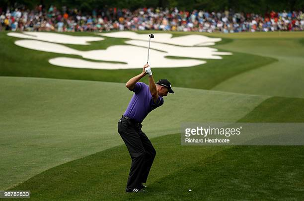 Jim Furyk hits his approach to the 5th green during the third round of the Quail Hollow Championship at Quail Hollow Country Club on May 1 2010 in...
