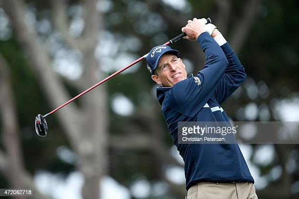 Jim Furyk hits his tee shot on the 14th hole during his semi final match in the World Golf Championships Cadillac Match Play at TPC Harding Park on...