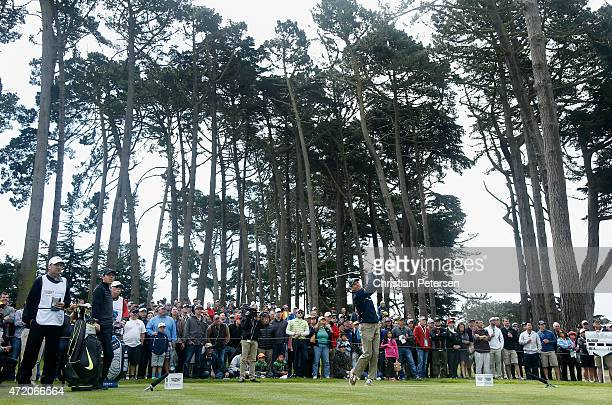 Jim Furyk hits his tee shot on the 17th hole during his semi final match in the World Golf Championships Cadillac Match Play at TPC Harding Park on...
