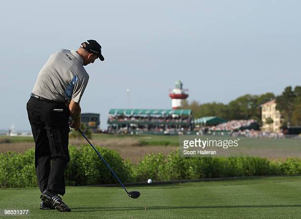 Jim Furyk hits his tee shot on the first playoff hole during the final round of the Verizon Heritage at the Harbour Town Golf Links on April 18 2010...