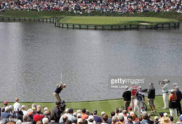Jim Furyk hits his tee shot on the par 3 17th hole during the second round of The Players Championship on the Stadium Course at TPC Sawgrass on March...