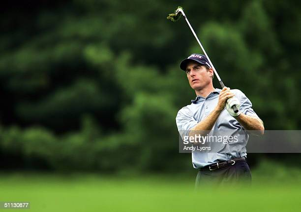 Jim Furyk hits his third shot on the par 5 7th hole during the second round of the Buick Open on July 30 2004 at Warwick Hills Golf and Country Club...