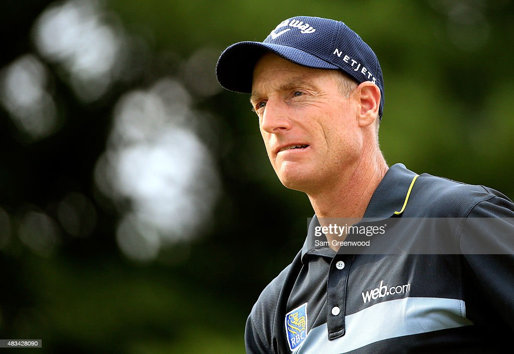 Jim Furyk hits off the 17th tee during the third round of the World Golf Championships - Bridgestone Invitational at Firestone Country Club South Course on August 8, 2015 in Akron, Ohio.
