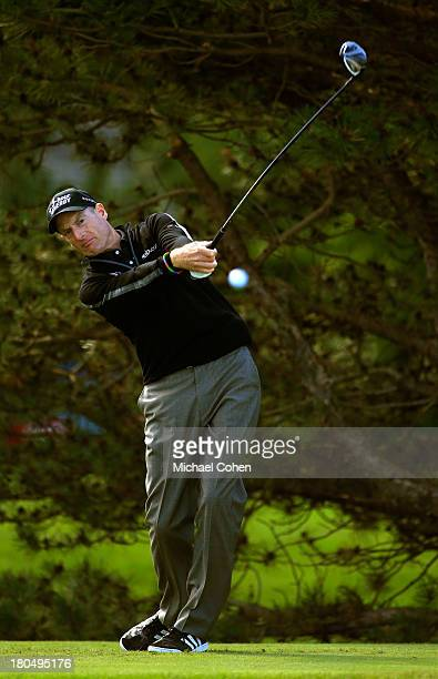 Jim Furyk hits off the fourth tee during the Second Round of the BMW Championship at Conway Farms Golf Club on September 13, 2013 in Lake Forest,...