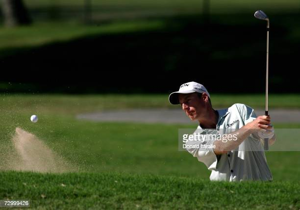 Jim Furyk hits out of the bunker on the 9th hole during the final round of the Sony Open on January 14 2007 at Waialae Country Club in Honolulu Hawaii