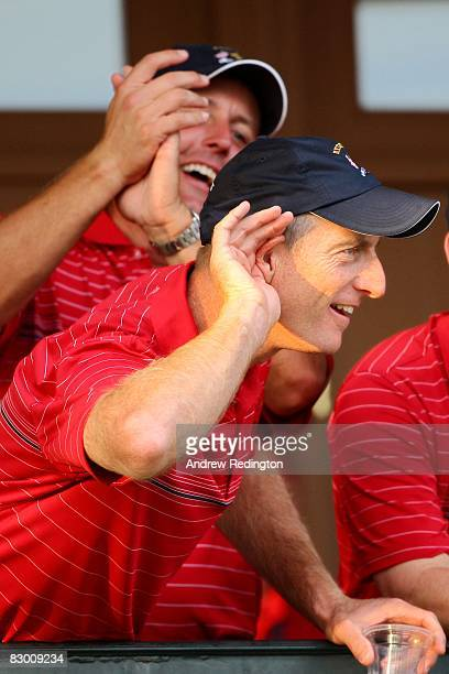 Jim Furyk holds his hand to his ear listening to fans while celebrating after the USA 16 1/2 11 1/2 victory on the final day of the 2008 Ryder Cup at...