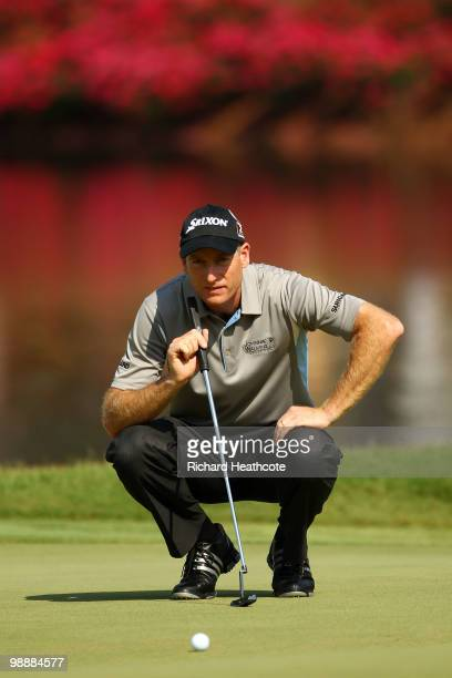 Jim Furyk lines up a putt on the 16th green during the first round of THE PLAYERS Championship held at THE PLAYERS Stadium course at TPC Sawgrass on...