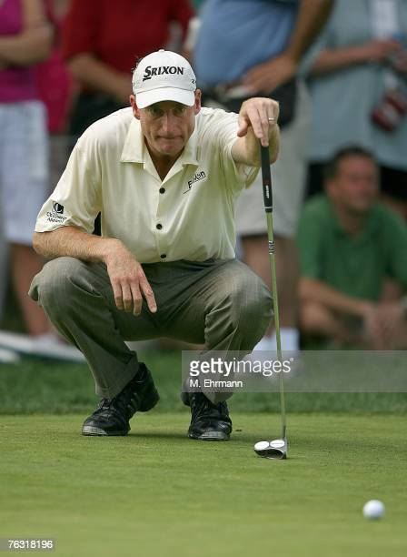 Jim Furyk lines up a putt on the third hole during the second round of The Barclays, the inaugural event of the new PGA TOUR Playoffs for the...