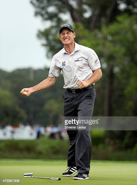Jim Furyk makes a birdie putt on the second playoff hole against Kevin Kisner to win the RBC Heritage at Harbour Town Golf Links on April 19 2015 in...