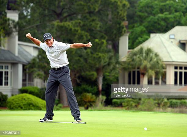 Jim Furyk makes a birdie putt on the second playoff hole to win the RBC Heritage at Harbour Town Golf Links on April 19, 2015 in Hilton Head Island,...