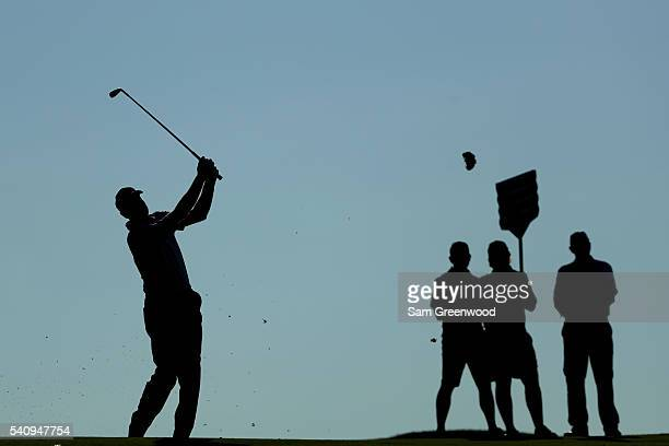 Jim Furyk of the United States hits his second shot on the first hole during the second round of the U.S. Open at Oakmont Country Club on June 17,...