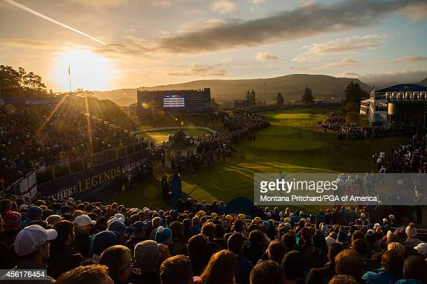 Jim Furyk of the United States hits his tee shot on the first tee during the fourball matches for the 40th Ryder Cup at Gleneagles on September 27...