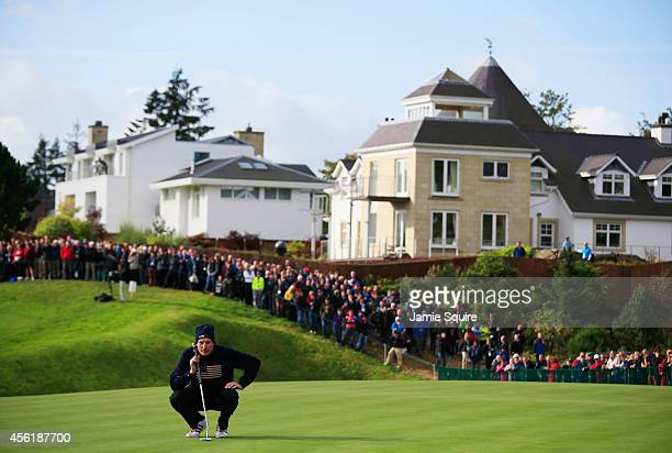 Jim Furyk of the United States lines up a putt on 11 during the Morning Fourballs of the 2014 Ryder Cup on the PGA Centenary course at the Gleneagles...