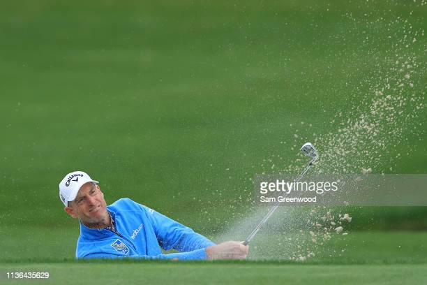 Jim Furyk of the United States plays his second shot on the 12th hole during the final round of The PLAYERS Championship on The Stadium Course at TPC...