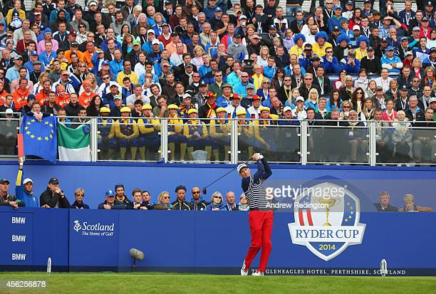 Jim Furyk of the United States tees off on the 1st during the Singles Matches of the 2014 Ryder Cup on the PGA Centenary course at the Gleneagles...