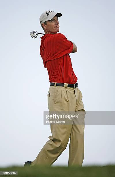 Jim Furyk of the USA hits his tee shot on the 11th hole during the final round of the Canadian Open at Angus Glen Golf Club on July 29 2007 in...