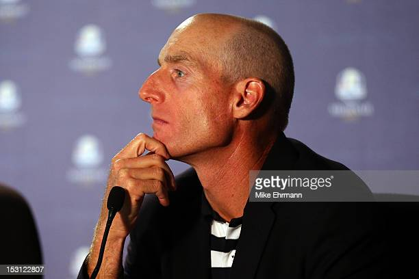 Jim Furyk of the USA is seen in a press conference after Europe defeated the USA 145 to 135 at The 39th Ryder Cup at Medinah Country Club on...