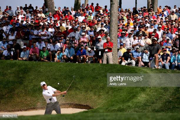 Jim Furyk of the USA team hits a shot from a bunker during day one of the 2008 Ryder Cup at Valhalla Golf Club on September 19, 2008 in Louisville,...
