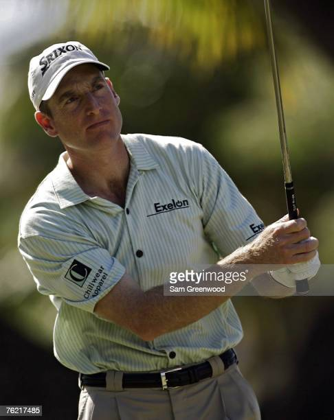 Jim Furyk on the 4th hole during the fourth and final round of the Sony Open in Hawaii held at Waialae Country Club in Honolulu, Hawaii, on January...