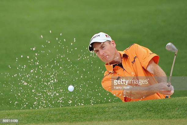 Jim Furyk plays a bunker shot on the second hole during the third round of the 2009 Masters Tournament at Augusta National Golf Club on April 11,...