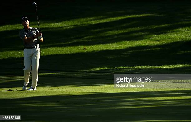 Jim Furyk plays a shot on the 16th hole during the first round of the World Golf Championships - Bridgestone Invitational at Firestone Country Club...
