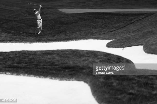 Jim Furyk plays a shot on the eighth hole during round one of the Wells Fargo Championship at Eagle Point Golf Club on May 4 2017 in Wilmington North...