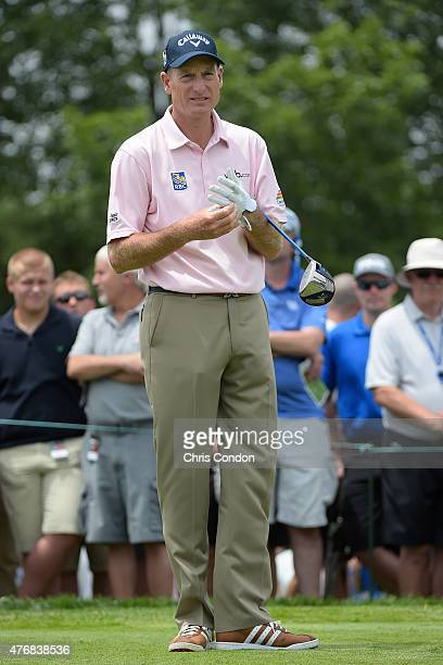 Jim Furyk plays from the first tee during the final round of the Memorial Tournament presented by Nationwide at Muirfield Village Golf Club on June...