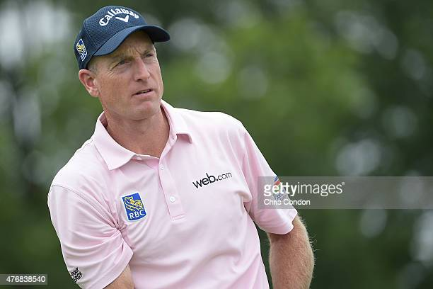 Jim Furyk plays from the first tee during the final round of the Memorial Tournament presented by Nationwide at Muirfield Village Golf Club on June 7...