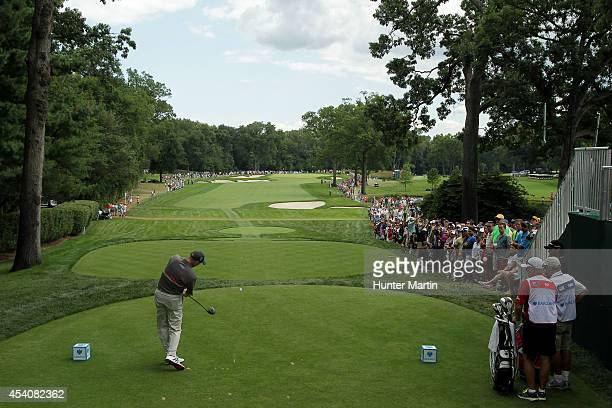 Jim Furyk plays his shot from the first tee during the final round of The Barclays at The Ridgewood Country Club on August 24 2014 in Paramus New...