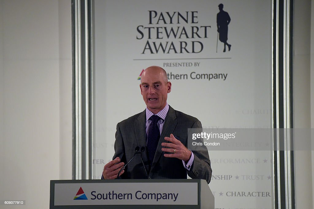Jim Furyk receives the Payne Stewart award at a ceremony prior to the TOUR Championship, the final event of the FedExCup Playoffs, at East Lake Golf Club on September 20, 2016 in Atlanta, Georgia.