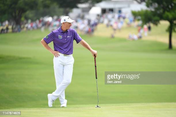 Jim Furyk stands on the eleventh green during the final round of the Charles Schwab Challenge at Colonial Country Club on May 26 2019 in Fort Worth...